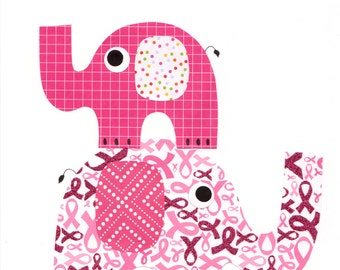 Elephant Print for Breast Cancer Awareness Nursery Artwork Print Baby Room Decoration Kids Room Gifts Under 20 wall art