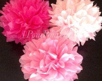 PINK PASSION / 3 tissue paper pom poms / baby shower, birthday, wedding decorations, bridal shower, nursery decor, tea party