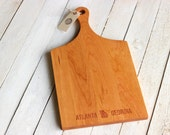 Handled Cutting Board - Customized City State Design With Silhouette
