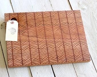 Herringbone Cutting Board - Wood Engraved Modern Pattern