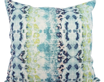 Two Decorative Pillow Covers - 2 Blue and Green Ikat Covers - Blue Green Pillows - Blue Ikat Pillow - Green Ikat Pillow - Ikat Pillow Covers
