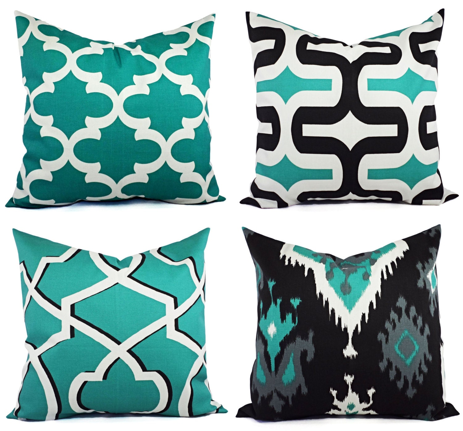 CLEARANCE Decorative Pillow Cover Jade Green Black and White