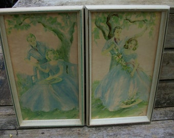 Vintage Pair of 1950's Framed Lithographs of Two Loving Couples by Cotrell