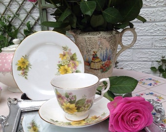 Vintage Royal Kent Tea Cup Trio, Teacup, Saucer and Side Plate Set with lovely yellow flower.