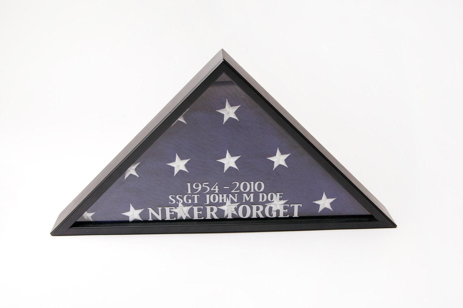 Personalized memorial flag display case for 5 x 9 5 foot flag for Wedding dress shadow box for sale