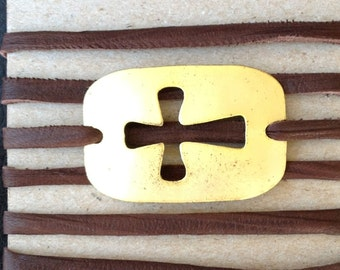 Wrap Bracelet (Leather) with Square/Hollow Sideways Cross (Gold)
