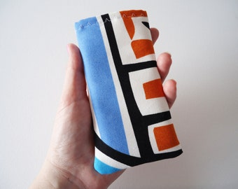 iPhone 5 and 5S sleeve, orange and blue phone sleeve with abstract print