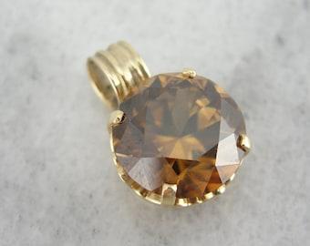 Breathtaking, Deep Bronze Zircon Pendant in Yellow Gold H16HL6-N