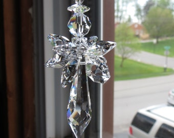 Angel Suncatcher, Swarovski Crystal Suncatcher, Guardian Angel, April Birthstone, Clear crystal suncatcher, Keira's Crystal Creations
