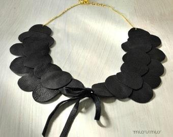 OOAK black collar scallop necklace.