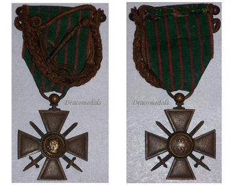 France WW1 Military Medal Great  War Cross Croix Guerre 1916 Star citation FOURRAGERE Decoration French Merit WWI 1914 1918 Bravery Award