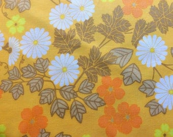 60s retro yellow mod Vintage fabric. Amazing floral pattern