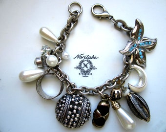 Repurposed /Upcycled Vintage Silver Tone Bracelet, Charm Bracelet, Assemblage Vintage Earrings.