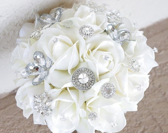 Silk Brooch Wedding Bouquet - Natural Touch Roses and Flower Brooch Jewel Bride Bouquet - Rhinestones