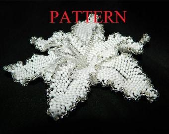 Beadweaving PATTERN Beaded flower lily brooch beading tutorial beadwork instructions beading patterns PDF Instant Download Scheme Flower pin