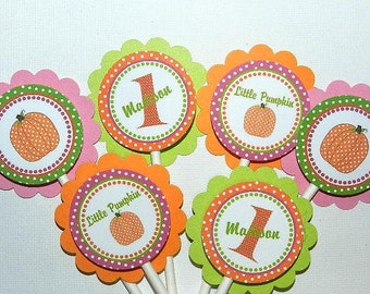 Fall  Birthday Party - Fall Birthday- Fall Birthday Decorations-  Fall Birthday Cupcake Toppers-Pumpkin  Birthday
