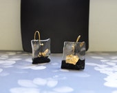 Black and gold earrings - Unique Resin earrings - Romantic jewelry - Made to order