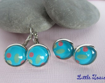 Earrings blue cabochons-sleepers - Confetti