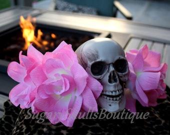 Dia de los Muertos Headpiece, Headband, Sugar Skull and Flowers, Halloween Prop, Costume Day of the Dead Wedding