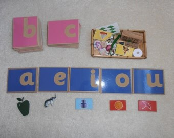Montessori Sandpaper Letters and Small Objects, Sensorial, Tactile, Reading and Writing, Alphabet
