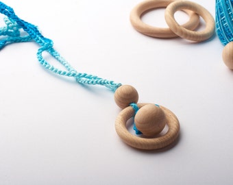 Crochet Teething necklace for mom -Wooden teether Breastfeeding necklace- Sling Eco Teething accessories- Wooden development toy