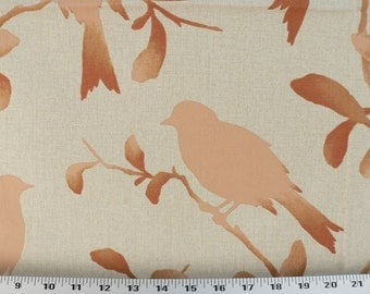 Drapery Fabric, Upholstery Fabric, Birds Fabric, Slip Cover Fabric, Duvet Cover Fabric, Peach/Coral/Natural Fabric, Fabric By The Yard