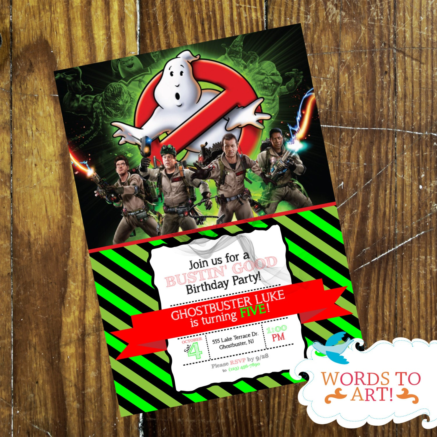 CUSTOM Ghostbusters Birthday Party Invitations