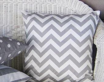 Gray Chevron Pillow Cover Decorative Throw Accent Sofa Bed 16x16 18x18 20x20 22x22 12x16 12x18 12x20 14x22  Zig Zag Zipper