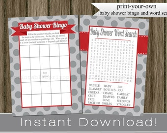 Baby Boy Shower Games Bingo and Word Search Cards , gray and red , INSTANT DOWNLOAD diy digital printable files , babyshower activity idea