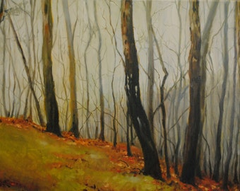 Edge of the Misty Woods on a late Autumn Morning- Original Ohio Valley Forest Landscape- Tree Nature Oil Painting