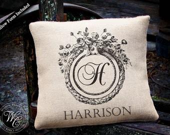 Monogram Burlap Pillow, Personalized Burlap Pillow, Elegant Monogram, Modern Vintage, Family Name Pillow, Wedding Gift