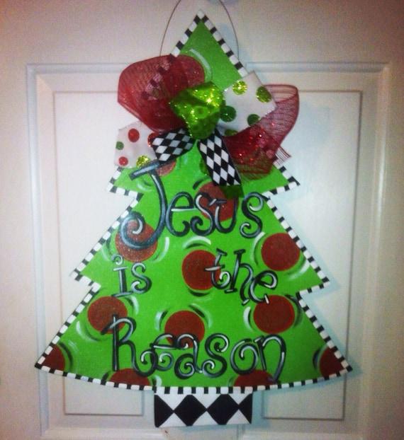 Wooden christmas tree door hanger