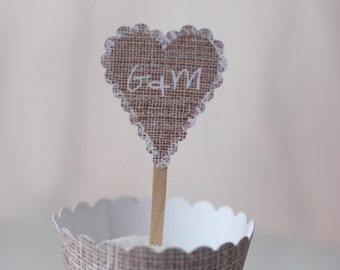 MADE TO ORDER Burlap-style Heart Cupcake Toppers- set of 12