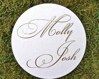 Personalized Wedding Coasters, Custom Coasters, Custom Wedding, Calligraphy, Party Coasters, Anniversary Coasters, Drink Coasters- Set of 50
