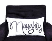 "Naughty or Nice Reversible Throw Pillow Cover - Lumbar 12"" x 20"" - Black and White"