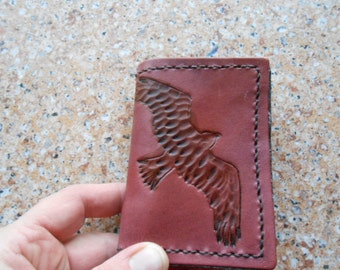tri-fold leather billfold with hand tooling