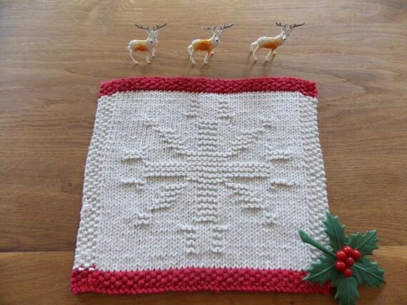 Dishcloth knitting pattern Christmas snowflake