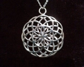 double seed of life pendant in silver 925