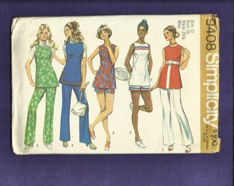 1971  Simplicity 9408 Active Sportswear & Fun in the Sun Outfits Size 12