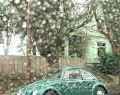 Green VW Bug, Rainy day Portland, Classic 70s bug, Green Bug, Portland rain, raindrops, Christmas gift. Fine Art ©LeeAnn Gauthier