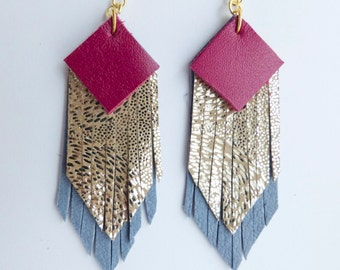 Fringed geometric tassel eco leather earrings in magenta pink, metallic silver and powder blue layers