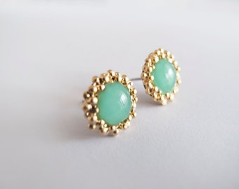 Mint Green Gold Round Stud Earrings - Hypoallergenic Surgical Steel Posts