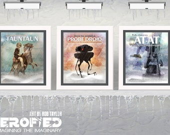 "Star Wars Inspired ""Hoth Series"" Set of 3 Signed 11""X14"" Art Prints Herofied Tauntaun Probe Droid AT-AT Empire Strikes Back Poster"