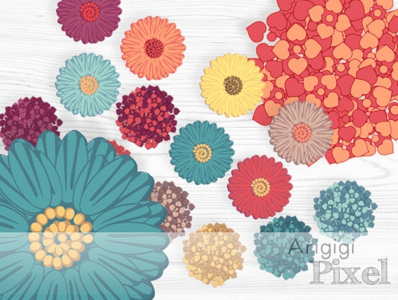 daisy clipart - hydrangea clip art - flowers clip art - digital supplies scrapbook - for invitations, stationery, PNG download