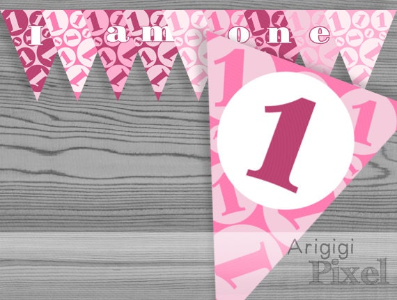 items similar to 1st birthday banner girl printable pink
