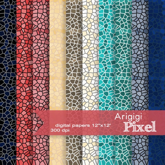 mosaic digital sheet, scrapbooking papers, stained glass effect, red and blue tones digital background, mosaic download