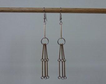 Long Gold Dangle Earrings Gold Modern Earrings, Gold Minimalist Earrings, Gold & Silver Long Earrings, Surgical Steel Hook