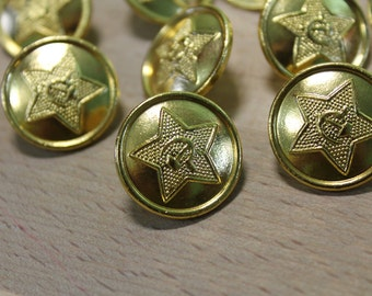 Set of 10 Vintage Soviet Army Buttons ... steampunk supplies