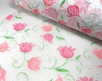 Decorative fabric, tulips, 2 meters  (1331)