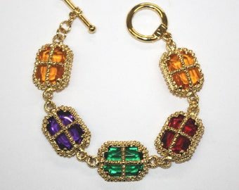 Vintage colored stone  baroque bracelet